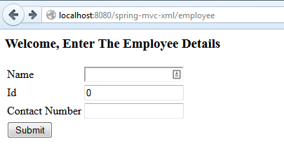 Spring MVC Form example - Submit
