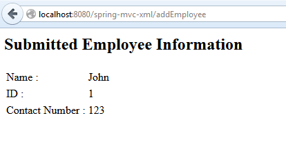 Spring MVC Form example - View