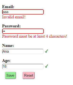 AngularJS form validation example