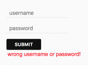 form login error