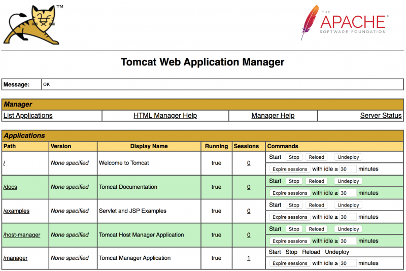 Tomcat Manager app list applications