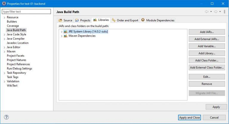Library managment in Eclipse