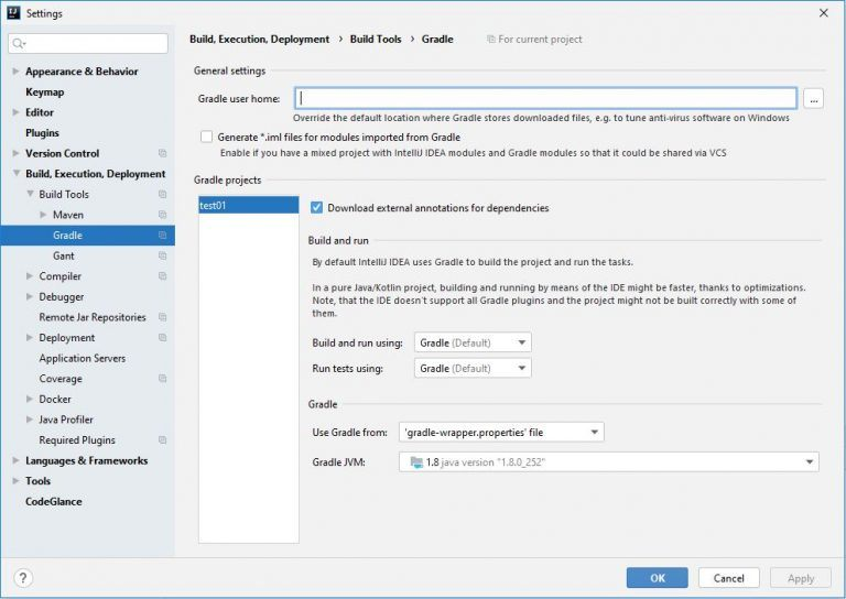 Gradle Configuration in IntelliJ