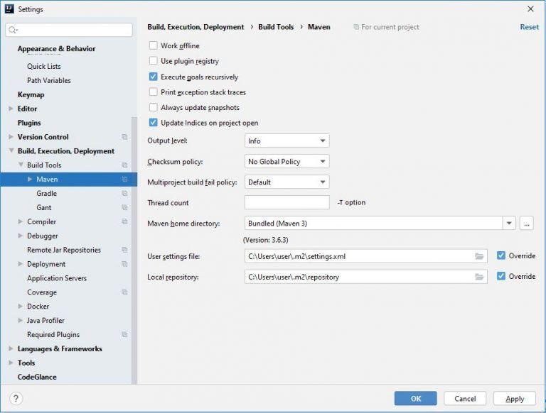 Maven Configuration in IntelliJ