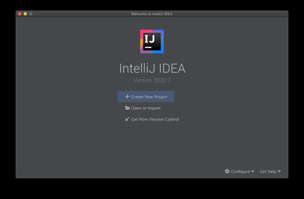 IntelliJ IDEA 2020.1 Launch Screen